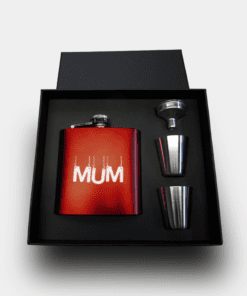 Country Images Personalised Red Custom Engraved Hipflask Hip Flask Flasks Cheap Scotland UK Box Set Boxed Mum Gift
